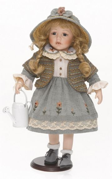Bambola da Collezione in Porcellana Bambina con Vestito a Fiori Cappellino in Paglia e Annaffiatoio RF Collection qualità Made in Germany 120509 c151