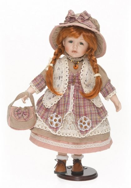 Bambola da Collezione in Porcellana Bambina Con Capelli Rossi Vestito Rosa e Cappello in Stoffa RF Collection qualità Made in Germany 120493 c151