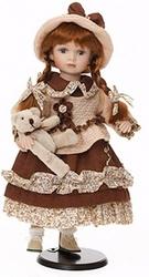 Bambola da Collezione in Porcellana Bambina Con Vestito Rosso, Pullover Rosa e Orsetto RF Collection qualità Made in Germany 120998 c151