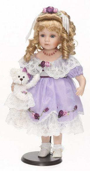 various colors 5938f e85cf Bambola da Collezione in Porcellana Bambina con Vestito Lilla e Orsetto in  Peluche RF Collection qualità Made in Germany 119916 c151