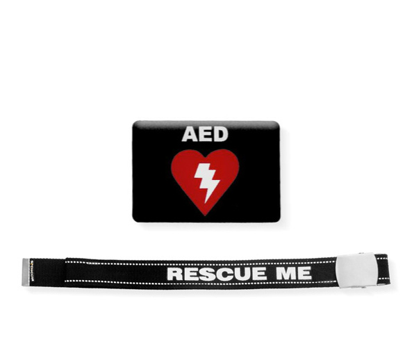 Cinta Rescue Me con etichetta resinata AED