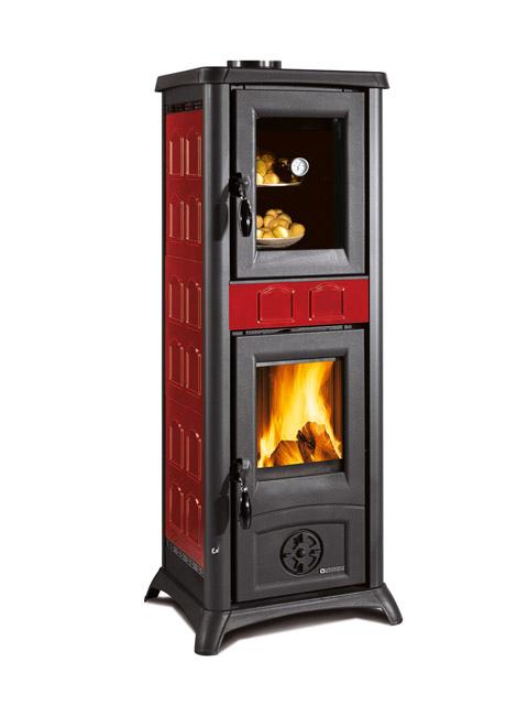 Stufa a legna con forno LA NORDICA mod. GEMMA FORNO 7 kW riscalda 200 m³ Colore Elegance Bordeaux