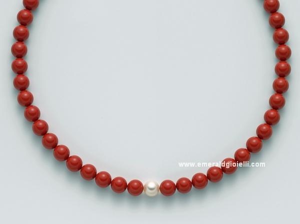 PCL4438 Girocollo Miluna con Corallo Rosso e Perla