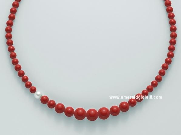 PCL4655 Collana Miluna color Corallo Rosso e Perla -