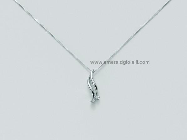 CLD2869 Girocollo Miluna con pendente in oro bianco e diamanti