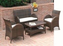 Set Salotto ATLANTA divano + 2 poltrone + tavolino cuscini rattan sintetico caffè SET56