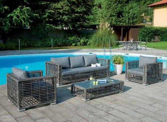 Set salotto da giardino lignano color melange con divano 2 poltrone cuscino tavolino wicker - Salotto giardino rattan ...