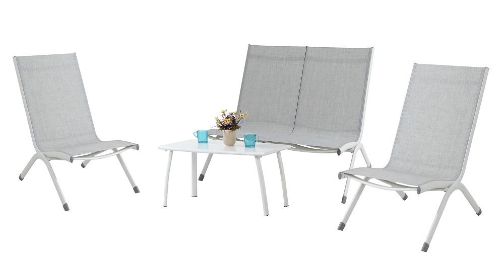 Set da giardino in alluminio SET ARENZANO bianco e textilene grigio melange SET27 SOTTOCOSTO