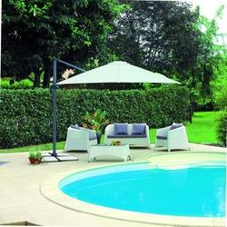 Set divanetto da Giardino Coffee Set DJERBA divano 2 poltrone tavolo cuscini rattan sintetico bianco SET88