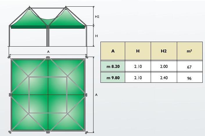 PAGODA M OUT 4x4 - 9,80 x 9,80 VERNICIATA
