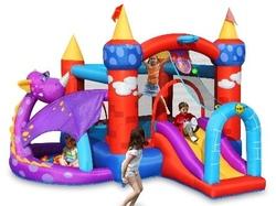 Gioco gonfiabile HAPPY Hop DRAGHETTO art 9022 - Gonfiabile Fiabesco Multiattività con Salterello Scivolo Vasca per palline con pompa