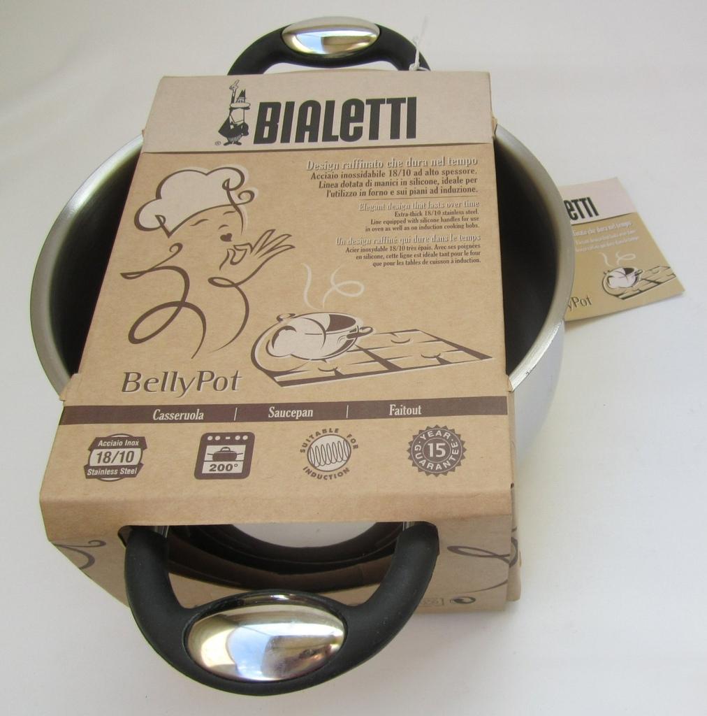 Casseruola diam 22 in acciaio inox 2 manico Bialetti BellyPot per induzione forno
