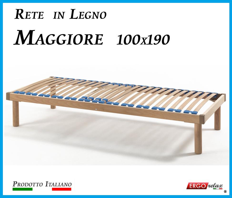 Rete in Legno Maggiore con 26 Doghe di Faggio e Regolatori Rigidità 100x190