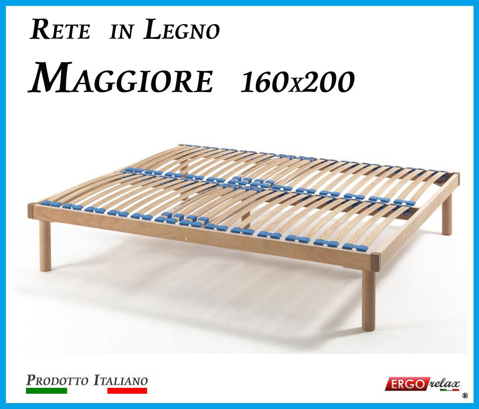 Rete in Legno Maggiore con 26 Doghe di Faggio e Regolatori Rigidità 160x200