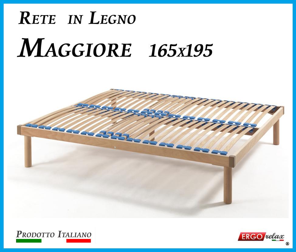 Rete in Legno Maggiore con 26 Doghe di Faggio e Regolatori Rigidità 165x195