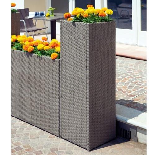 Fioriera verticale 40x40xh120 cm portavaso wicker rattan sintetico avana plw02 - Vasi da giardino ikea ...