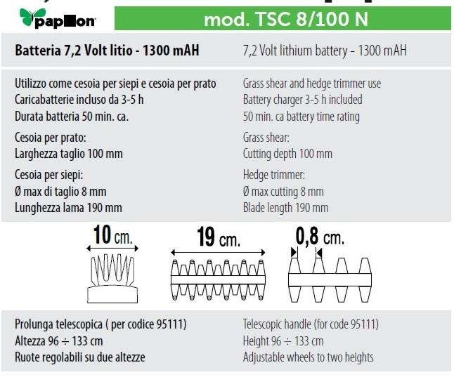 Forbice per erba Cesoia Tosaerba a batteria TSC8/100N Batteria Litio Papillon