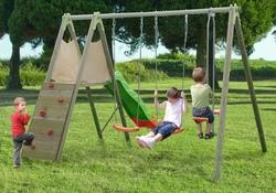 Set Giochi per giardino in legno SET CICLAMINO in legno 2 Altalene + Arrampicata + cavalluccio + scivolo altezza cm 235 cod ALS1358