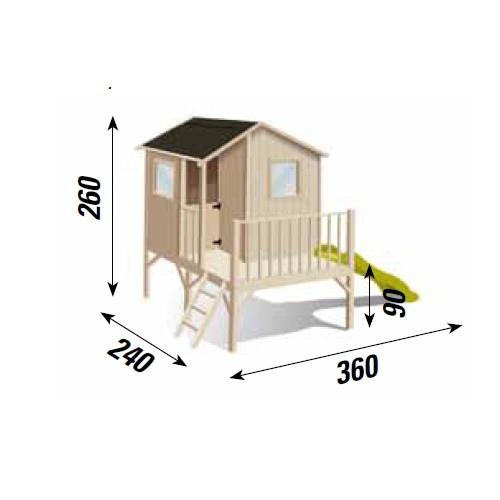 Casetta gioco bambini in legno LAMPONE casa legno colorabile terrazza scivolo tetto impermeabile CL1386 misura cm 360 x 240 H 260
