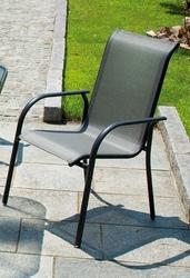 Sedia da giardino SORRENTO in Alluminio Grigio Antracite e Textilene Impilabile CHY 17