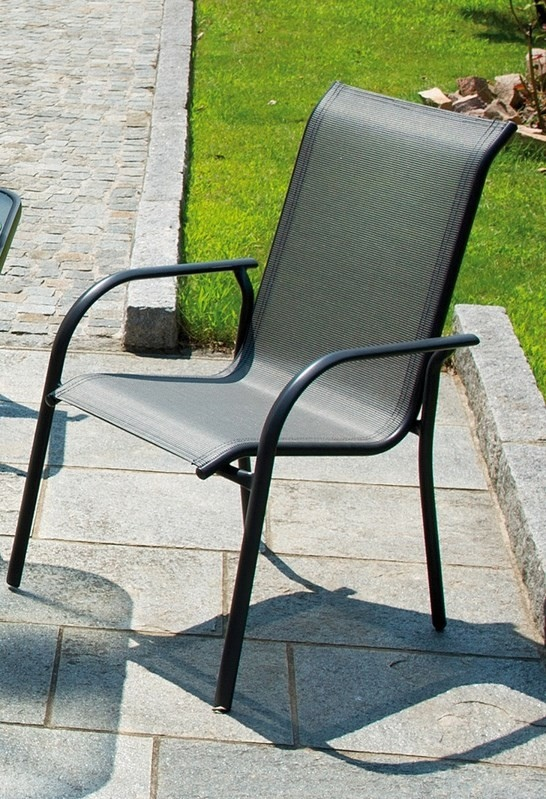 Sedie Da Giardino Impilabili.Sedia Sorrento In Alluminio Grigio Antracite E Textilene Impilabile