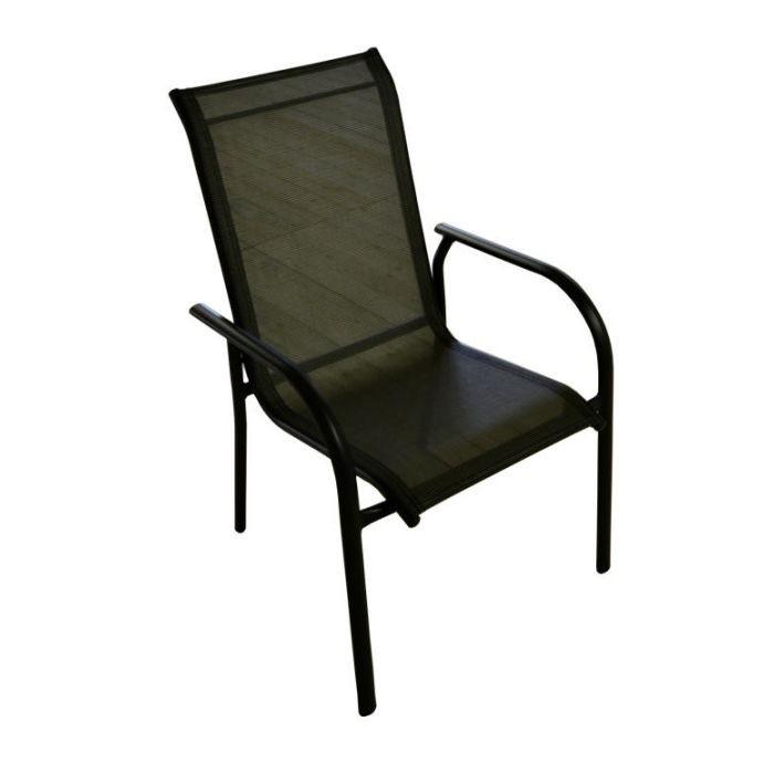 Sedia sorrento in alluminio grigio antracite e textilene for Arredo da giardino in alluminio