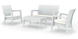 Salottino per giardino 4 pezzi in resina MIAMI divanetto poltrone e tavolino BIANCO