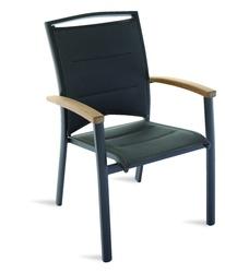 Sedia da giardino imbottita MINORCA In Teak E Alluminio Nero con braccioli impilabile CHT 51
