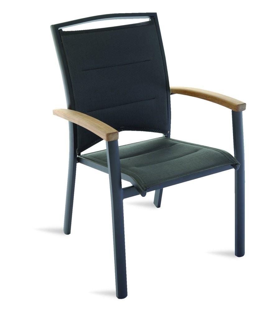 Sedie Da Giardino Impilabili.Sedia Da Giardino Imbottita Minorca In Teak E Alluminio Nero Con Braccioli Impilabile Cht 51
