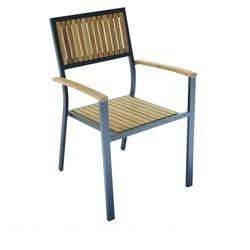 Sedia da giardino IBIZA in legno di Teak e Alluminio impilabile CHT52