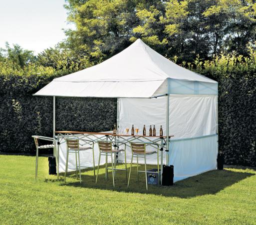 GAZEBO MERCATO mercatini fiere giardino quadrato 3x3m ALLUMINIO telo bianco 300gr GAZ110 impermeabile serie plus
