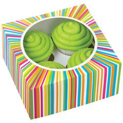 Set 3 scatole porta cupcakes decoro multicolore (4 cavità)