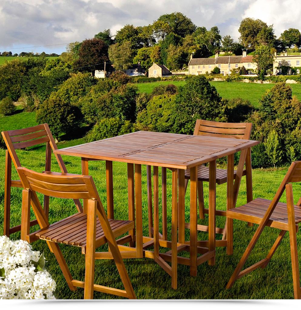 Tavolo In Legno Per Giardino.Set Legno Acacia Salvaspazio Chiudibile Foldies Set5 Tavolo E 4
