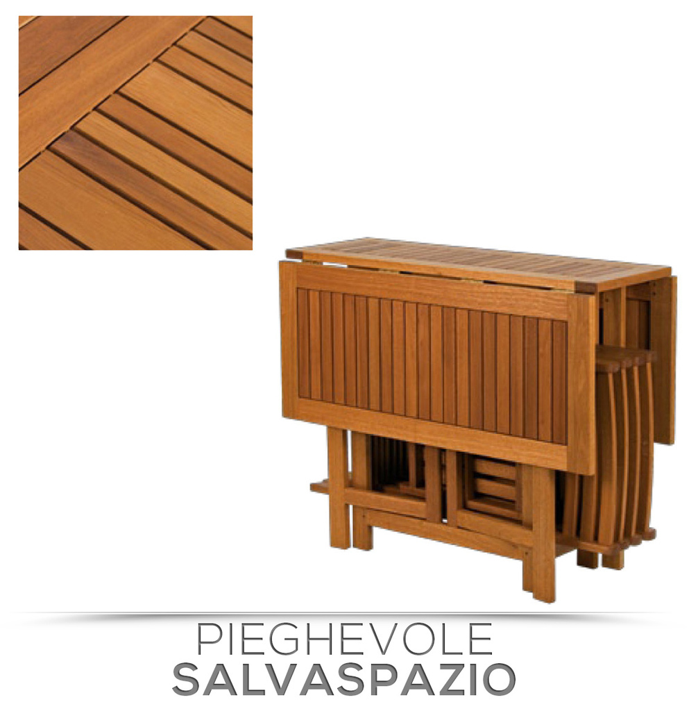 Set legno acacia salvaspazio chiudibile foldies set5 - Tavolo richiudibile in legno ...