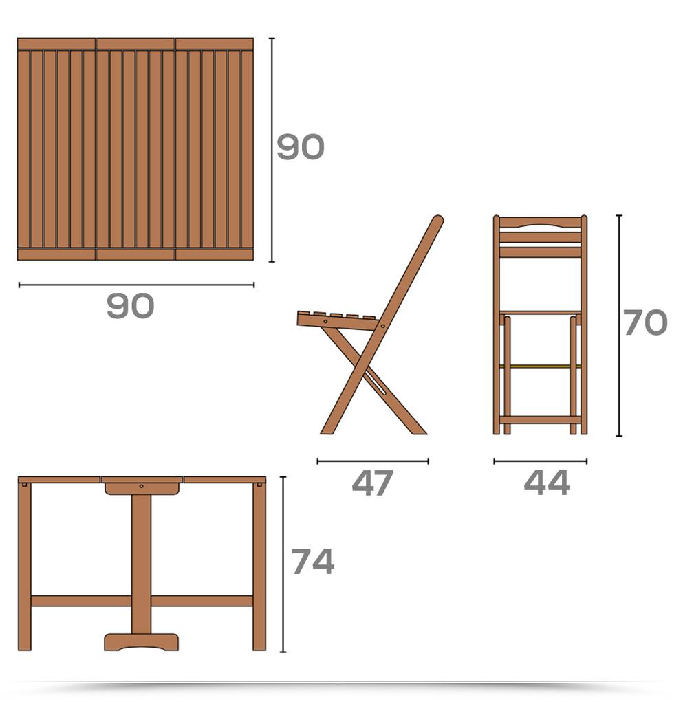 Set Legno acacia salvaspazio chiudibile SET COMPATTO LEGNO tavolo e 4 sedie pieghevoli