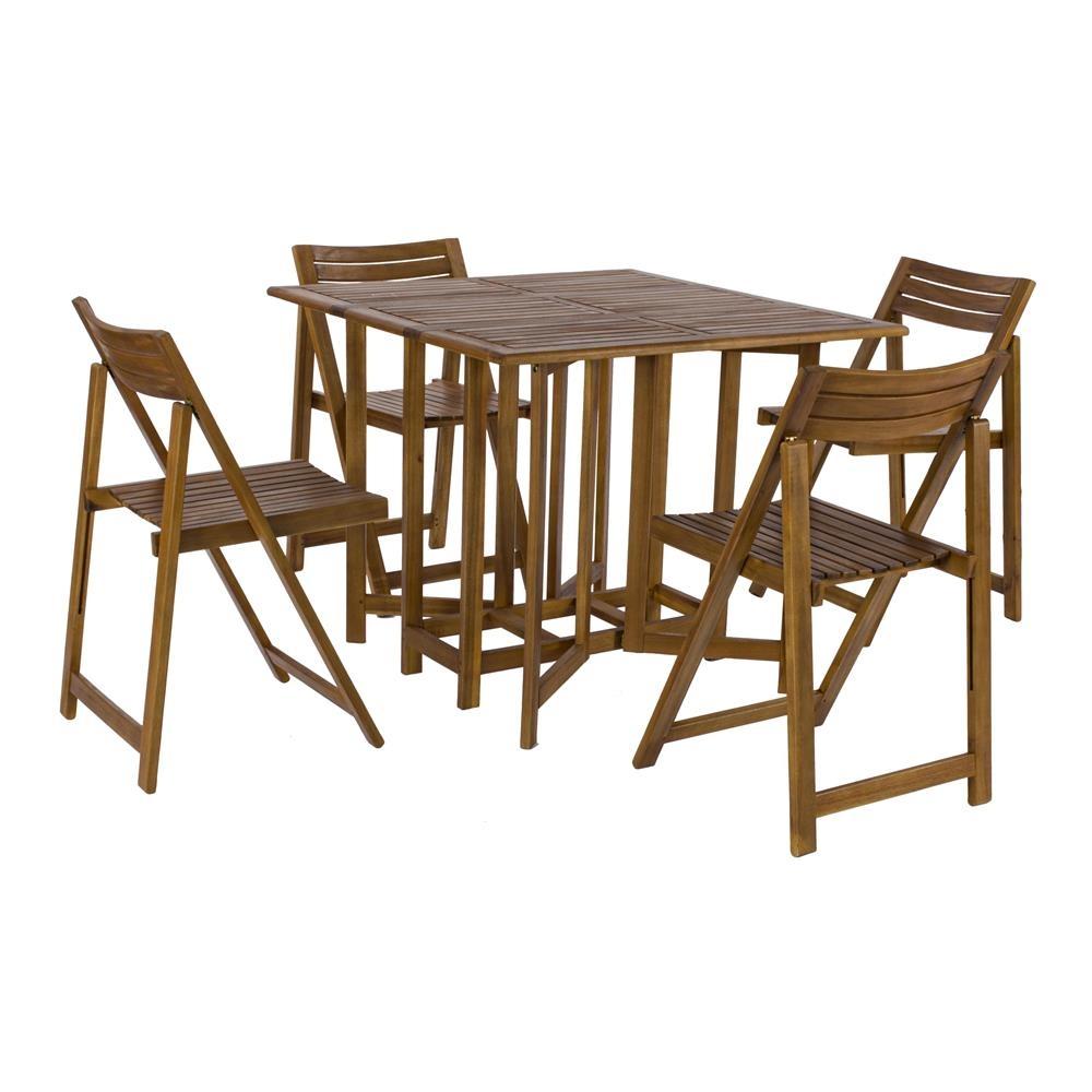 Sedie In Legno Giardino.Set Legno Acacia Salvaspazio Chiudibile Foldies Set5 Tavolo E 4