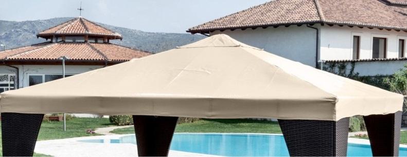 Telone ricambio gazebo SUPER PESANTE RESISTENTE impermeabile beige copertura telo di ricambio con bordo per gazebo gazebi mt. 3 x 3 in PVC spalmato in textilene impermeabile MILANO33 con camino PROFESSIONAL