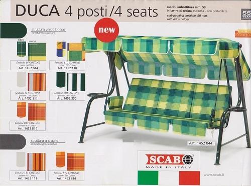 Dondolo 4 posti pesante DUCA in acciaio con porta bibite struttura verde cuscini righe VERDE BIANCO by Scab 1452 350