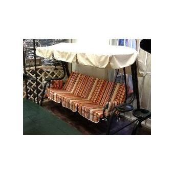 Dondolo 4 posti pesante LORD in acciaio con porta bibite struttura ANTRACITE cuscini righe ARANCIO by Scab 1452 111