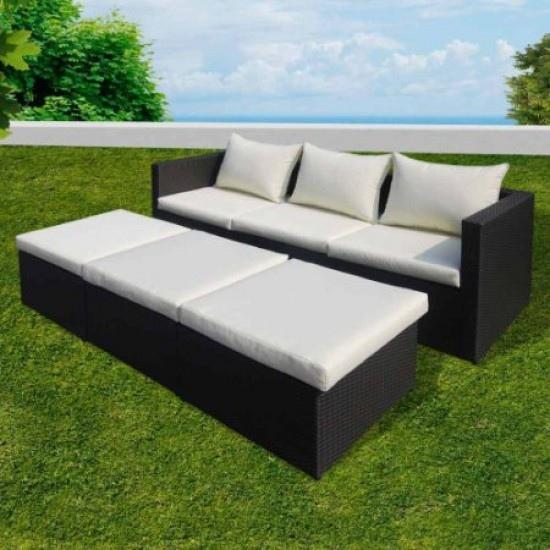 Multisalotto divano EGADI con poggiapiedi da giardino triplo uso in polyrattan colore marrone