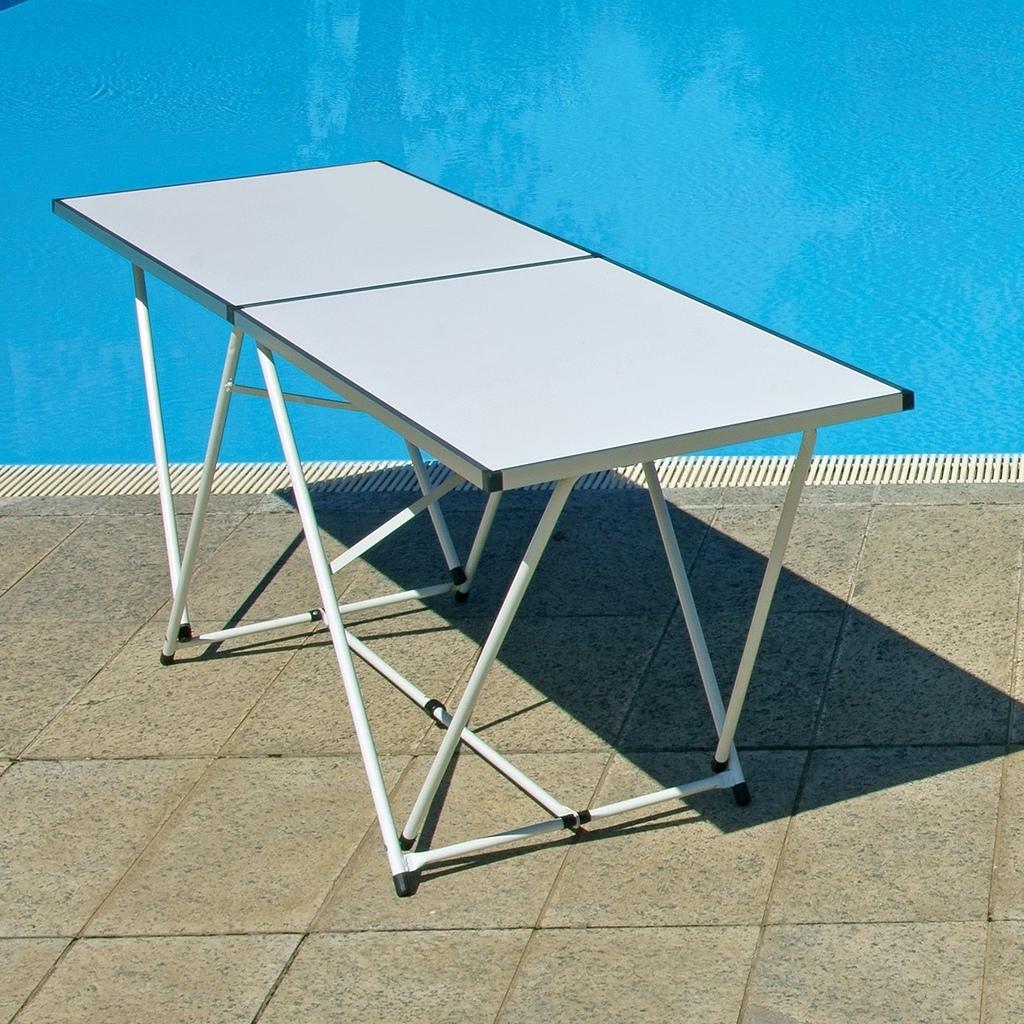 Tavoli Alluminio Pieghevoli Usati.Tavolo Pieghevole 200 X 60 In Alluminio Per Mercatini Buffet Lavoro