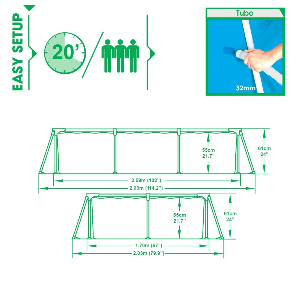 Piscina Fuori Terra da Esterno Bestway De Luxe Splash Frame Mod. 56042 cm 259x170 H 61