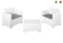 Salottino in Polipropilene stampato Set ALABAMA TERRANCE 3 pezzi 2 poltrone 1 tavolino BIANCO