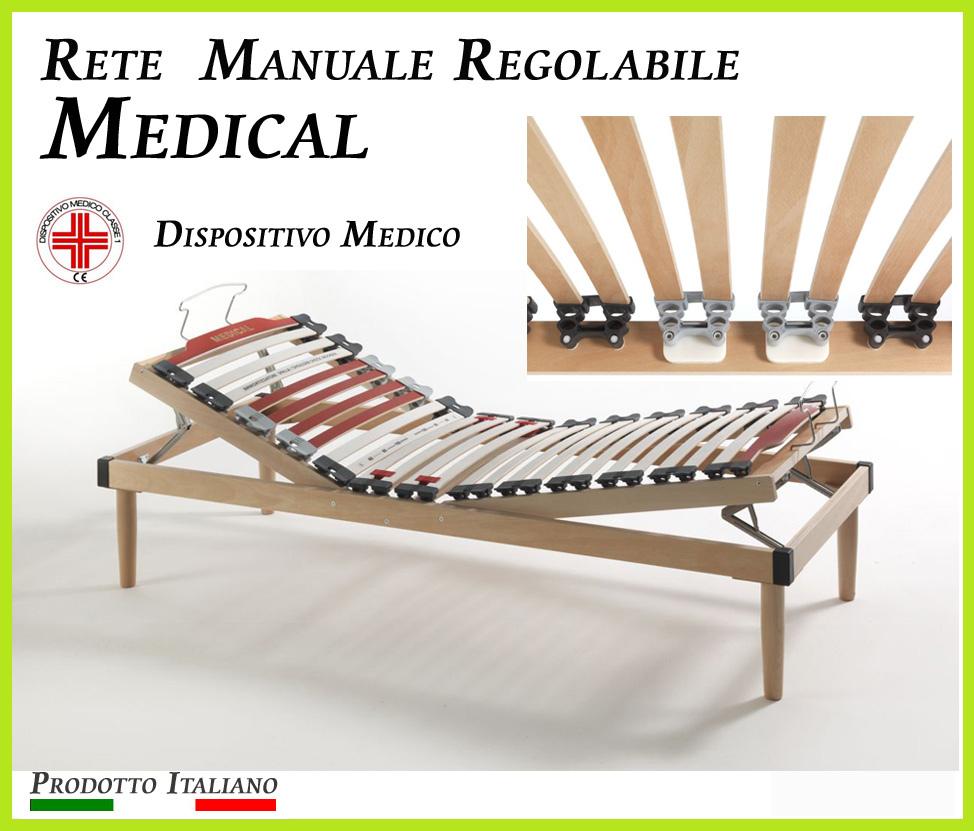 Rete Manuale Regolabile Medical a Doghe di Legno da Cm. 80x190/195/200 Presidio Medico Prodotto Italiano