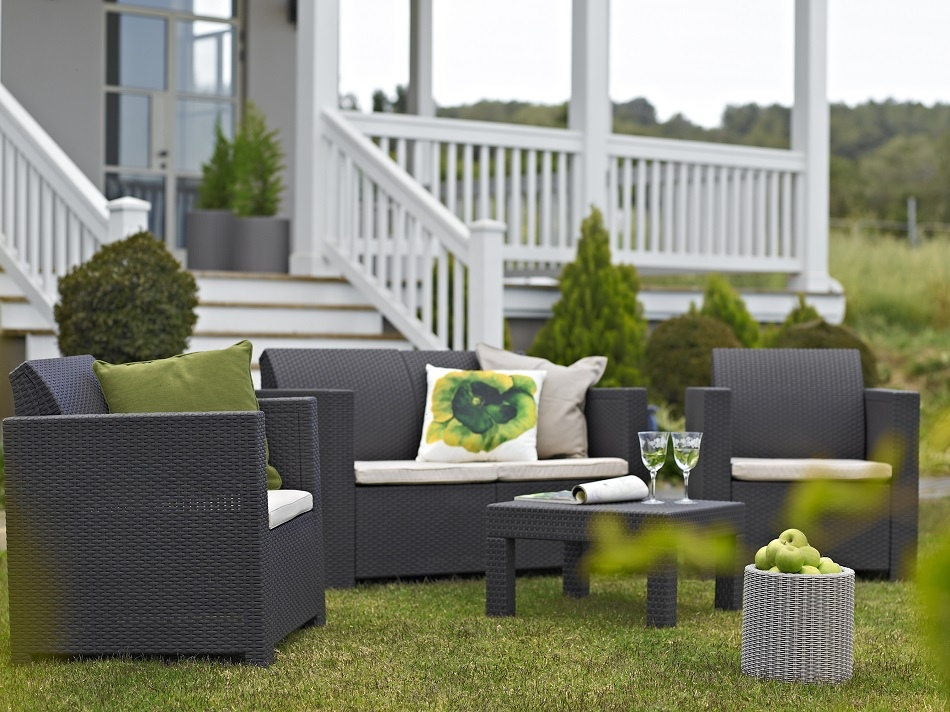 Set salotto elisa da giardino resina polirattan keter colorado colore antracite con cuscini - Divano in resina da esterno ...