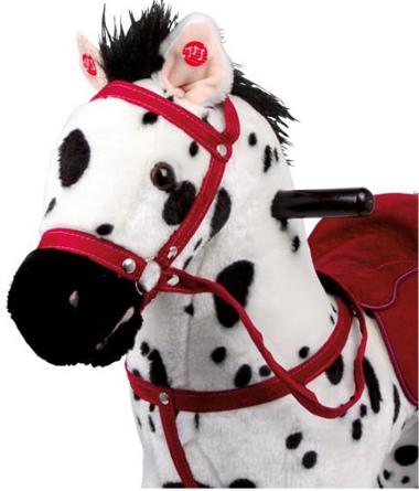 Cavallino a Dondolo Bianco e Nero in Legno e Tessuto di Legler