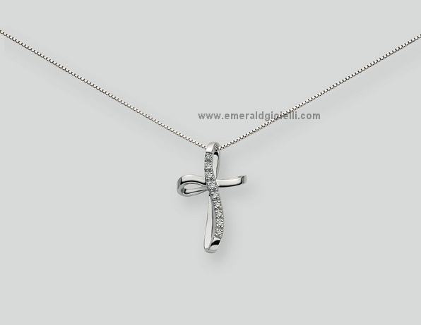 CLD745 Girocollo con Croce e Diamanti Miluna -