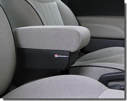 Adjustable armrest with storage for Fiat 500 and 500C and 500S