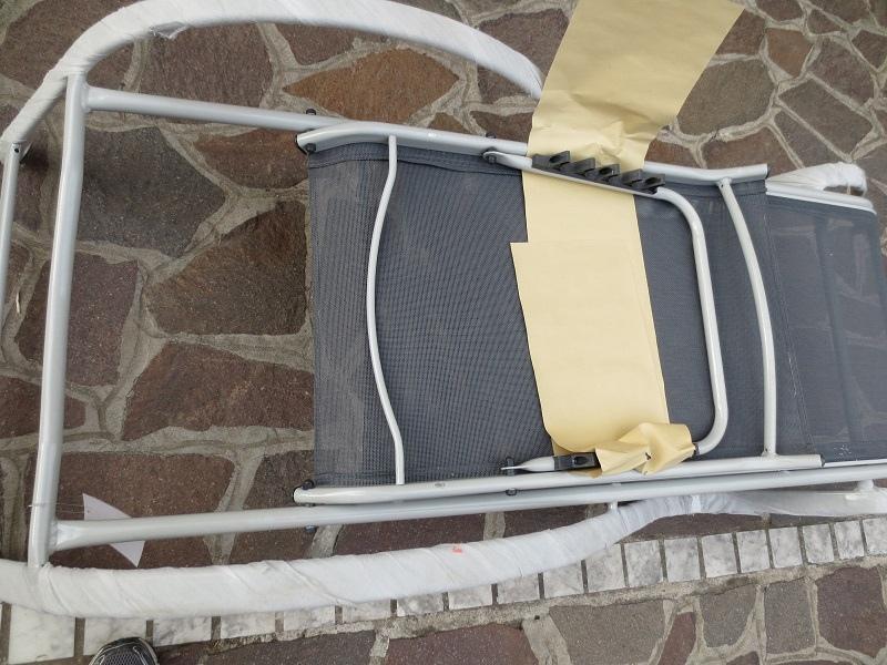 Lettino in alluminio con BRACCIOLI Mod. RESORT 195X66X58/91H cm Reclinabile