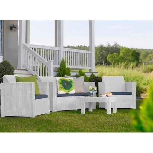 Set Salotto divano 2 poltrone tavolino ELISAB da giardino Resina Polirattan Keter Colorado Colore Bianco Con cuscini